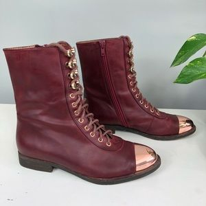 Jeffrey Campbell Leather Zoro Boots Moto Red 36